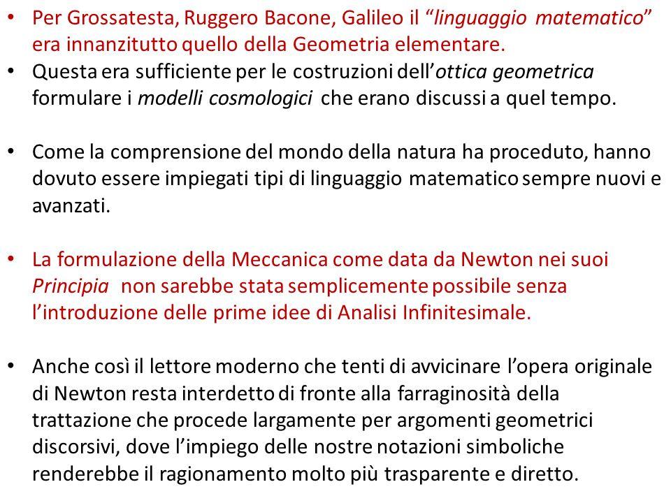 Per Grossatesta, Ruggero Bacone, Galileo il linguaggio matematico era innanzitutto quello della Geometria elementare. Questa era sufficiente per le co