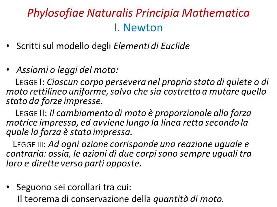 Phylosofiae Naturalis Principia Mathematica I. Newton Scritti sul modello degli Elementi di Euclide Assiomi o leggi del moto: L EGGE I: Ciascun corpo