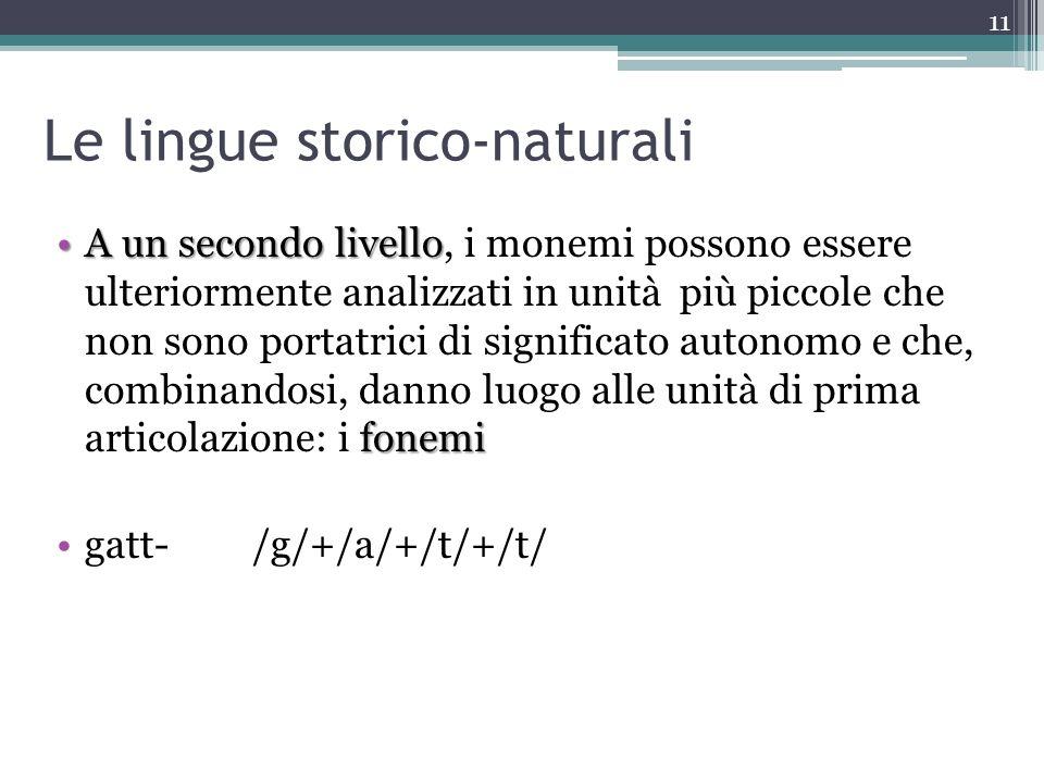 Le lingue storico-naturali A un secondo livello fonemiA un secondo livello, i monemi possono essere ulteriormente analizzati in unità più piccole che