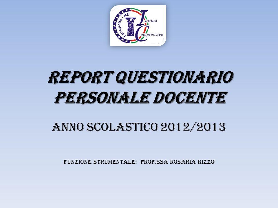 REPORT Questionario personale Docente Anno Scolastico 2012/2013 FunZIONE STRUMENTALE: PROF.ssa ROSARIA RIZZO
