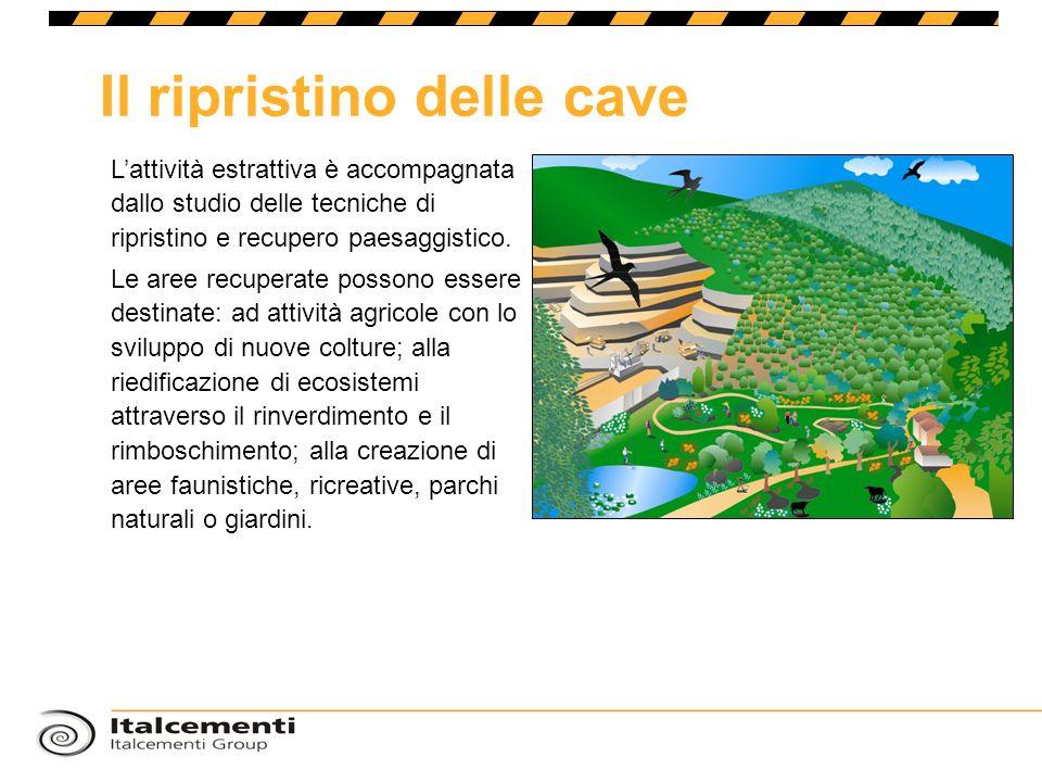 Il ripristino delle cave Lattività estrattiva è accompagnata dallo studio delle tecniche di ripristino e recupero paesaggistico. Le aree recuperate po