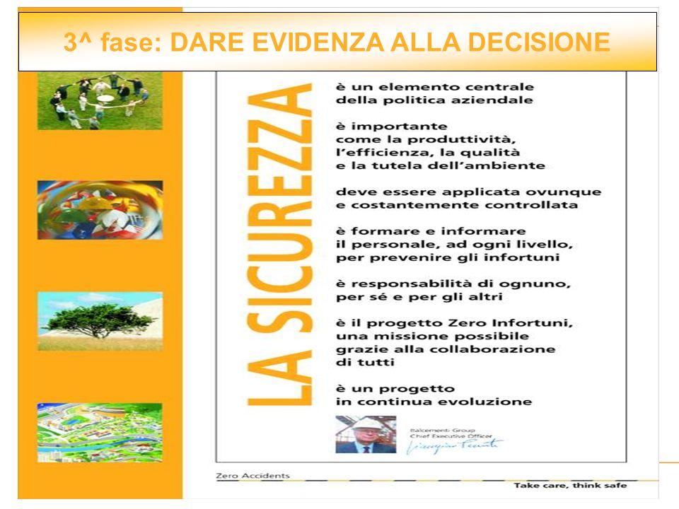 3^ fase: DARE EVIDENZA ALLA DECISIONE