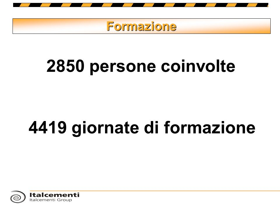 Formazione 2850 persone coinvolte 4419 giornate di formazione