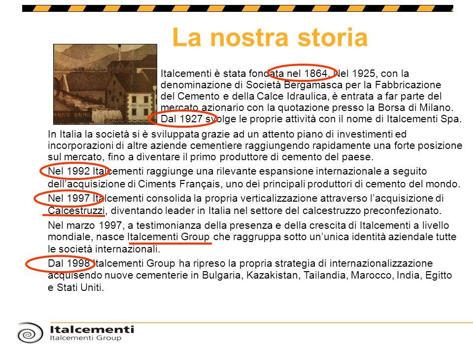La nostra storia Italcementi è stata fondata nel 1864. Nel 1925, con la denominazione di Società Bergamasca per la Fabbricazione del Cemento e della C
