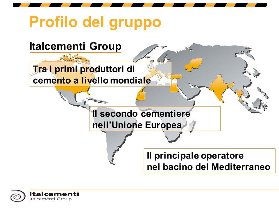 Tra i primi produttori di cemento a livello mondiale Il secondo cementiere nellUnione Europea Il principale operatore nel bacino del Mediterraneo Profilo del gruppo Italcementi Group