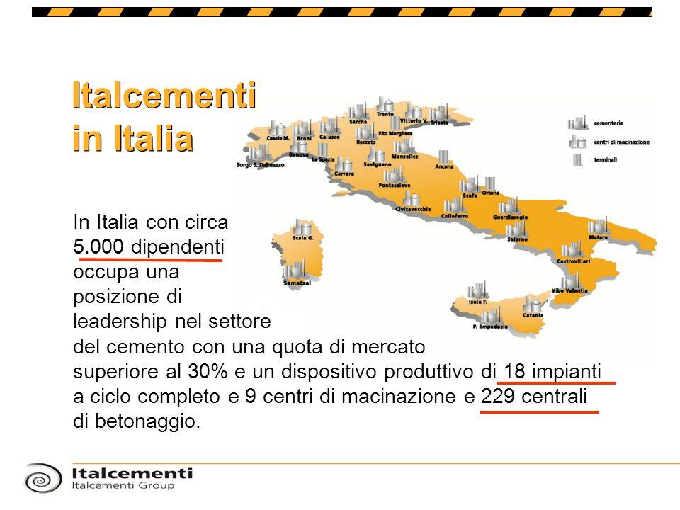 Italcementi in Italia In Italia con circa 5.000 dipendenti occupa una posizione di leadership nel settore del cemento con una quota di mercato superio