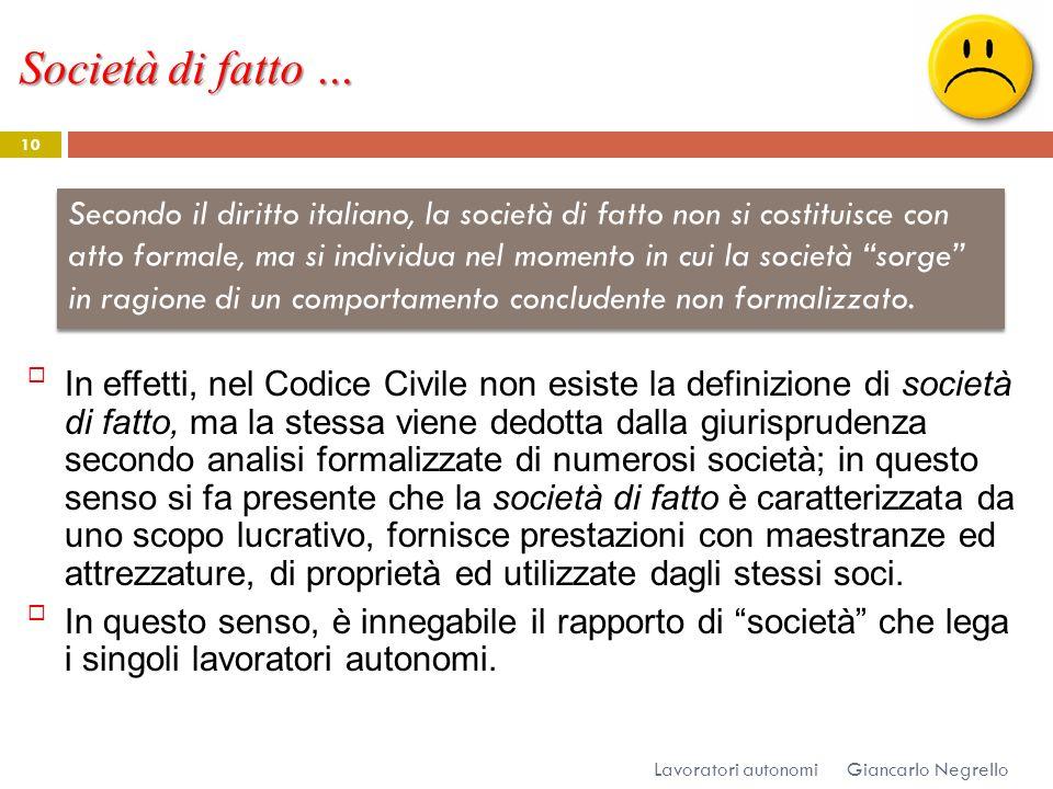 Società di fatto … Giancarlo Negrello Lavoratori autonomi 10 In effetti, nel Codice Civile non esiste la definizione di società di fatto, ma la stessa