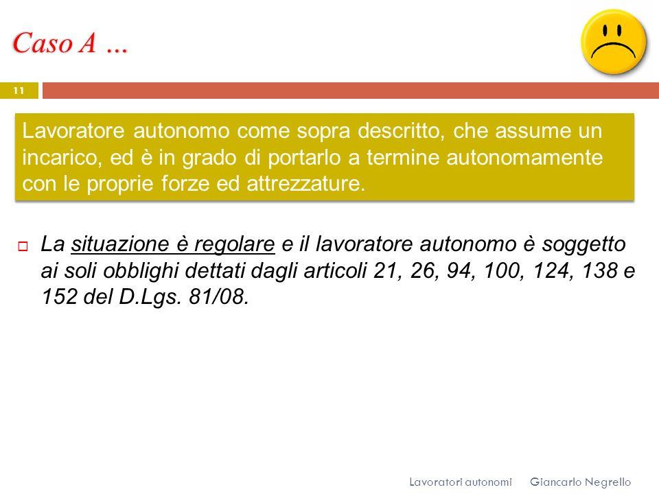 Caso A … Giancarlo Negrello Lavoratori autonomi 11 La situazione è regolare e il lavoratore autonomo è soggetto ai soli obblighi dettati dagli articol