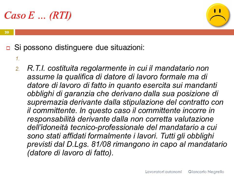 Caso E … (RTI) Giancarlo Negrello Lavoratori autonomi 20 Si possono distinguere due situazioni: 1. 2. R.T.I. costituita regolarmente in cui il mandata