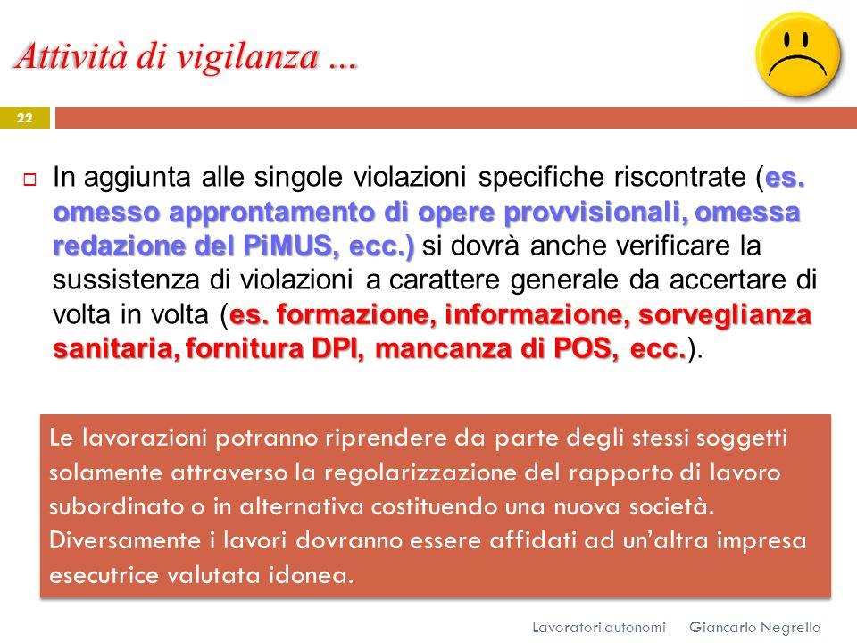 Attività di vigilanza … Giancarlo Negrello Lavoratori autonomi 22 es. omesso approntamento di opere provvisionali, omessa redazione del PiMUS, ecc.) e