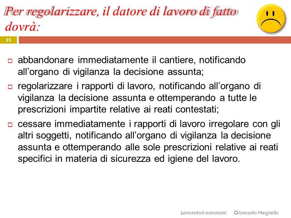 Per regolarizzare, il datore di lavoro di fatto dovrà: Giancarlo Negrello Lavoratori autonomi 23 abbandonare immediatamente il cantiere, notificando a