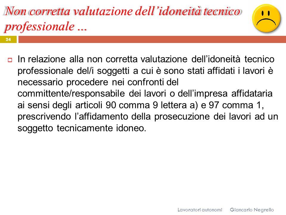 Non corretta valutazione dellidoneità tecnico professionale … Giancarlo Negrello Lavoratori autonomi 24 In relazione alla non corretta valutazione del