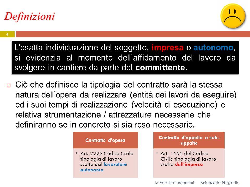 Definizioni Giancarlo Negrello Lavoratori autonomi 4 Ciò che definisce la tipologia del contratto sarà la stessa natura dellopera da realizzare (entit