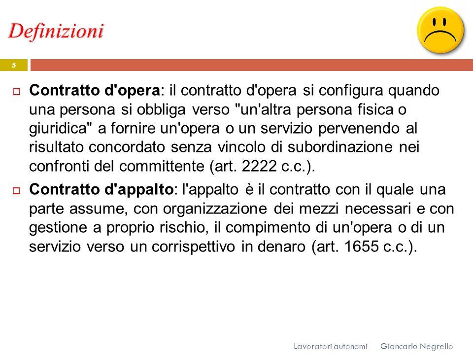 Definizioni Giancarlo Negrello Lavoratori autonomi 5 Contratto d'opera: il contratto d'opera si configura quando una persona si obbliga verso