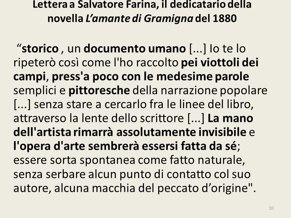 Lettera a Salvatore Farina, il dedicatario della novella Lamante di Gramigna del 1880 storico, un documento umano [...] Io te lo ripeterò così come l'