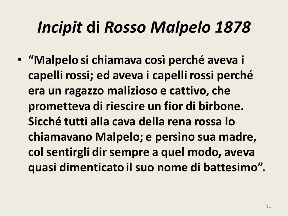 Incipit di Rosso Malpelo 1878 Malpelo si chiamava così perché aveva i capelli rossi; ed aveva i capelli rossi perché era un ragazzo malizioso e cattiv