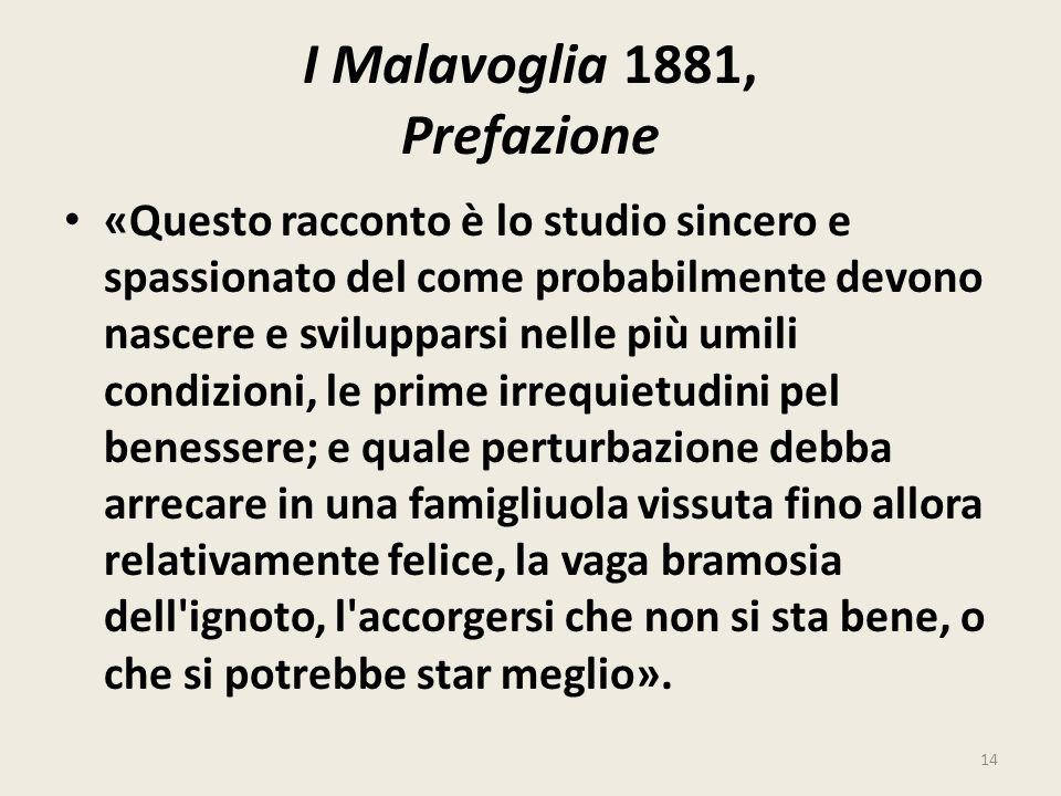 I Malavoglia 1881, Prefazione «Questo racconto è lo studio sincero e spassionato del come probabilmente devono nascere e svilupparsi nelle più umili c