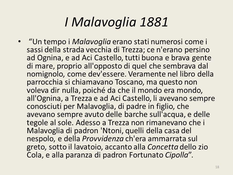 I Malavoglia 1881 Un tempo i Malavoglia erano stati numerosi come i sassi della strada vecchia di Trezza; ce n'erano persino ad Ognina, e ad Aci Caste