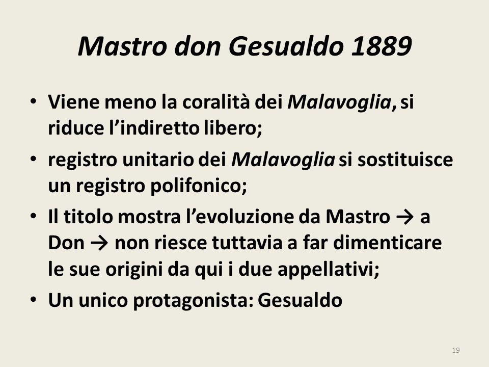 Mastro don Gesualdo 1889 Viene meno la coralità dei Malavoglia, si riduce lindiretto libero; registro unitario dei Malavoglia si sostituisce un regist
