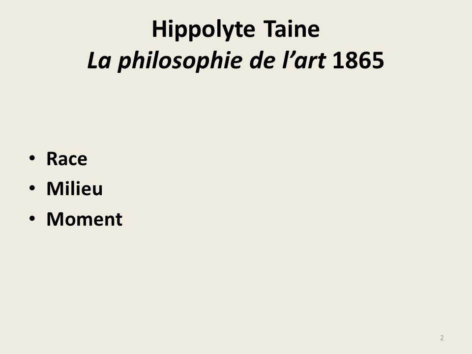 Hippolyte Taine La philosophie de lart 1865 Race Milieu Moment 2