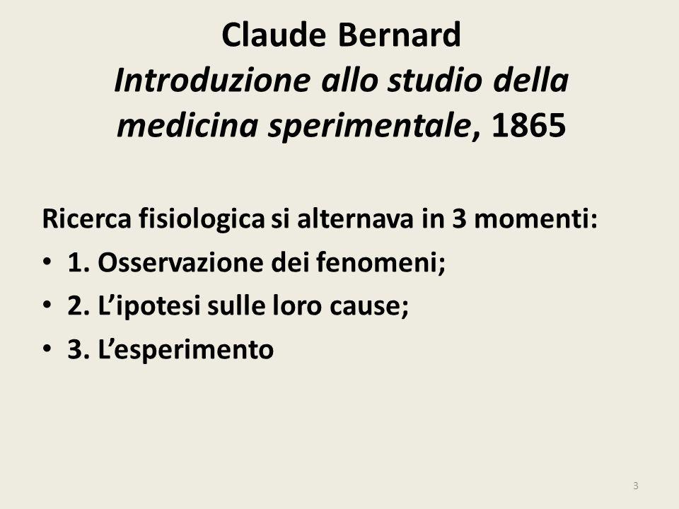 Claude Bernard Introduzione allo studio della medicina sperimentale, 1865 Ricerca fisiologica si alternava in 3 momenti: 1. Osservazione dei fenomeni;