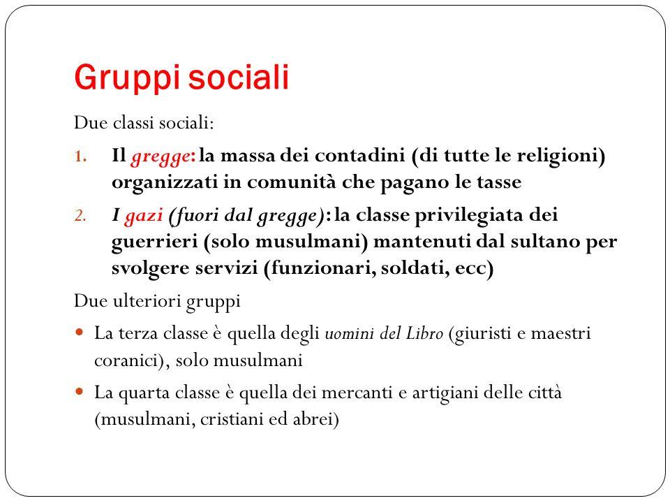 Gruppi sociali Due classi sociali: 1. Il gregge: la massa dei contadini (di tutte le religioni) organizzati in comunità che pagano le tasse 2. I gazi