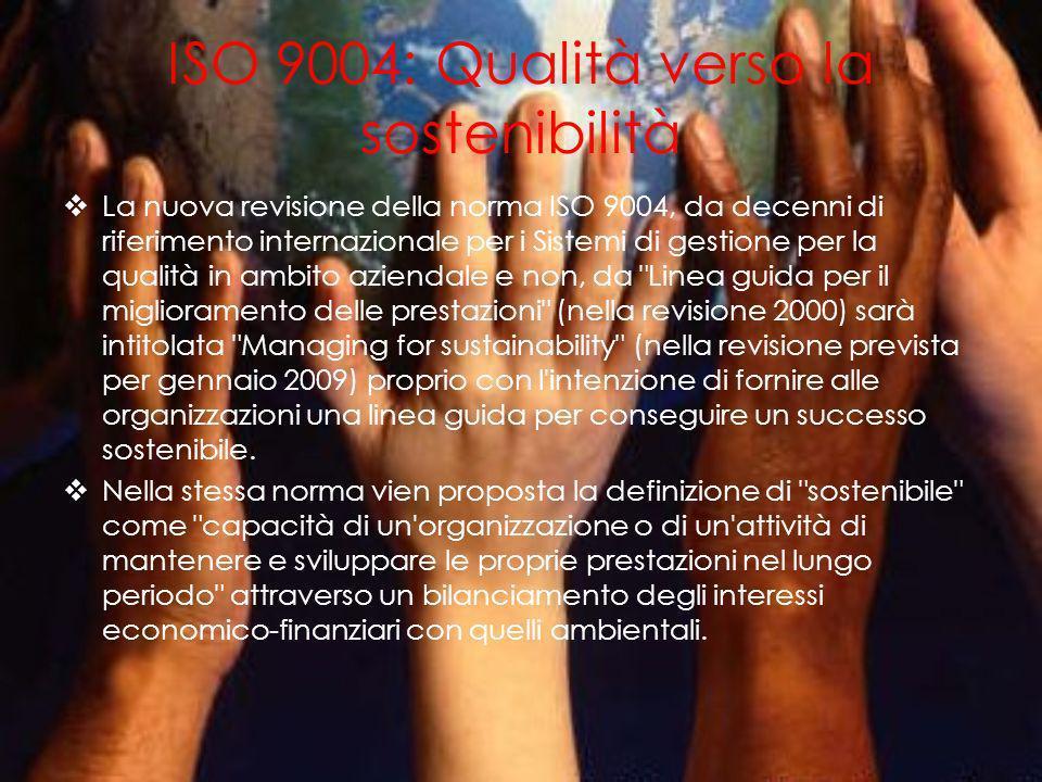 ISO 26000: Responsabilità sociale e sviluppo sostenibile Nel novembre 2009 cè stata la pubblicazione della norma ISO 26000