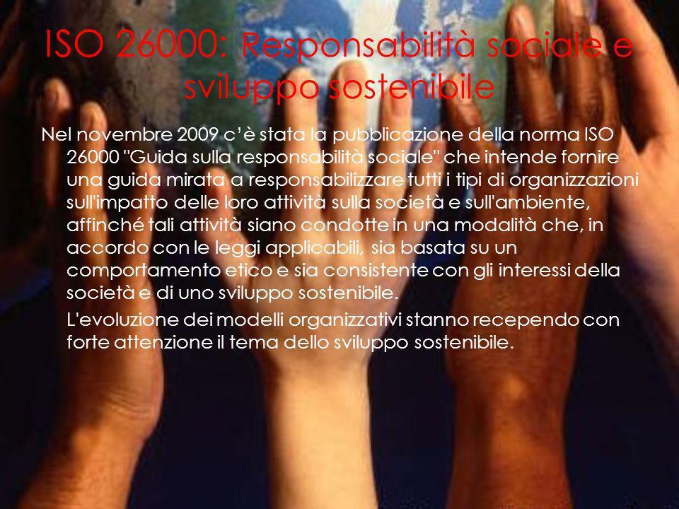 ISO 26000: Responsabilità sociale e sviluppo sostenibile Nel novembre 2009 cè stata la pubblicazione della norma ISO 26000 Guida sulla responsabilità sociale che intende fornire una guida mirata a responsabilizzare tutti i tipi di organizzazioni sull impatto delle loro attività sulla società e sull ambiente, affinché tali attività siano condotte in una modalità che, in accordo con le leggi applicabili, sia basata su un comportamento etico e sia consistente con gli interessi della società e di uno sviluppo sostenibile.