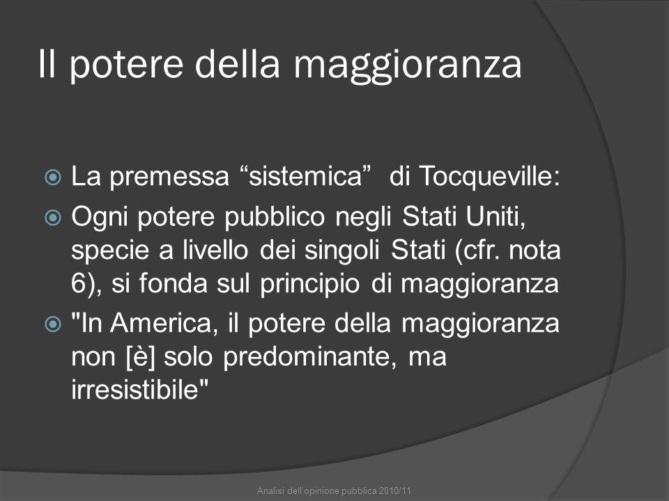 Il potere della maggioranza La premessa sistemica di Tocqueville: Ogni potere pubblico negli Stati Uniti, specie a livello dei singoli Stati (cfr. not