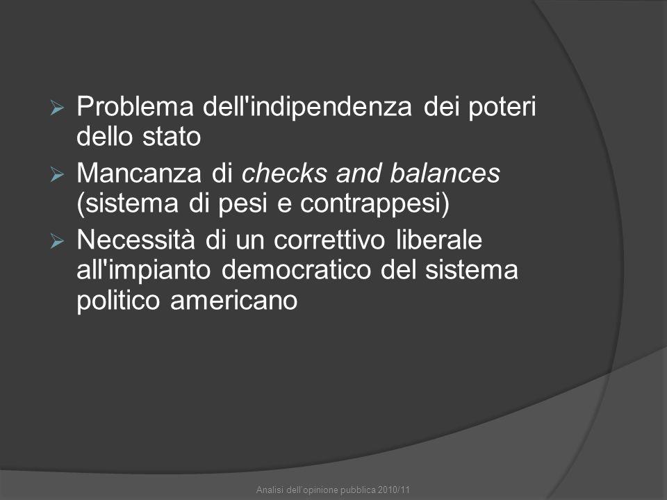 Problema dell'indipendenza dei poteri dello stato Mancanza di checks and balances (sistema di pesi e contrappesi) Necessità di un correttivo liberale