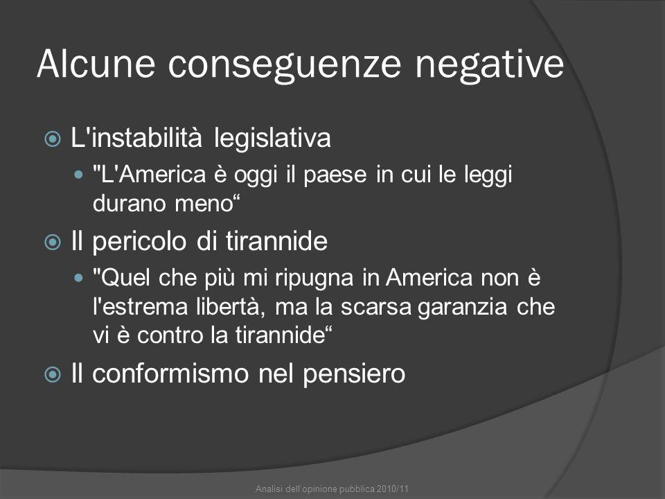 Alcune conseguenze negative L'instabilità legislativa