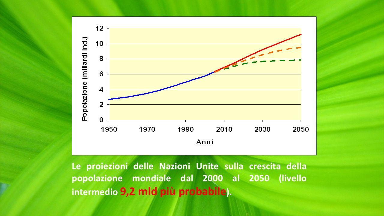 Sviluppo e Crescita = maggiore benessere per gli individui Le proiezioni delle Nazioni Unite sulla crescita della popolazione mondiale dal 2000 al 2050 (livello intermedio 9,2 mld più probabile ).