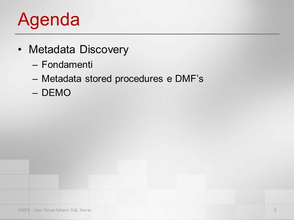 Agenda Metadata Discovery –Fondamenti –Metadata stored procedures e DMFs –DEMO 3 UGISS - User Group Italiano SQL Server