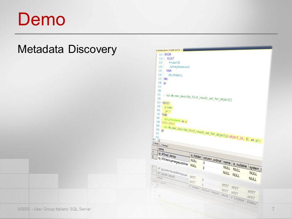 Demo 7 UGISS - User Group Italiano SQL Server Metadata Discovery