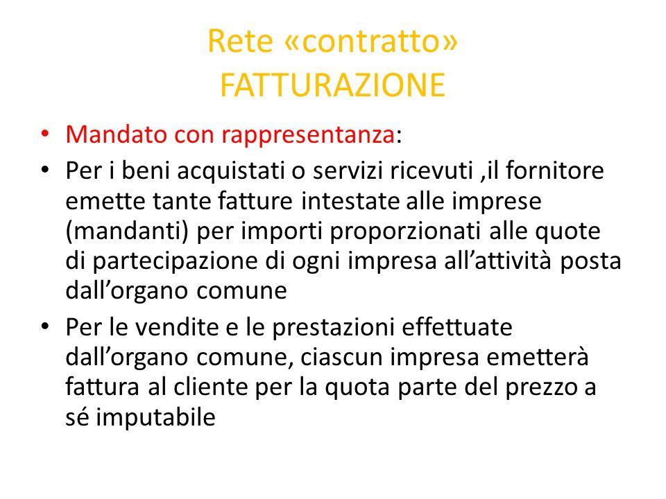 Rete «contratto» FATTURAZIONE Mandato con rappresentanza: Per i beni acquistati o servizi ricevuti,il fornitore emette tante fatture intestate alle im