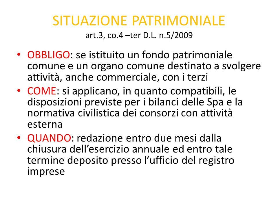 SITUAZIONE PATRIMONIALE art.3, co.4 –ter D.L. n.5/2009 OBBLIGO: se istituito un fondo patrimoniale comune e un organo comune destinato a svolgere atti