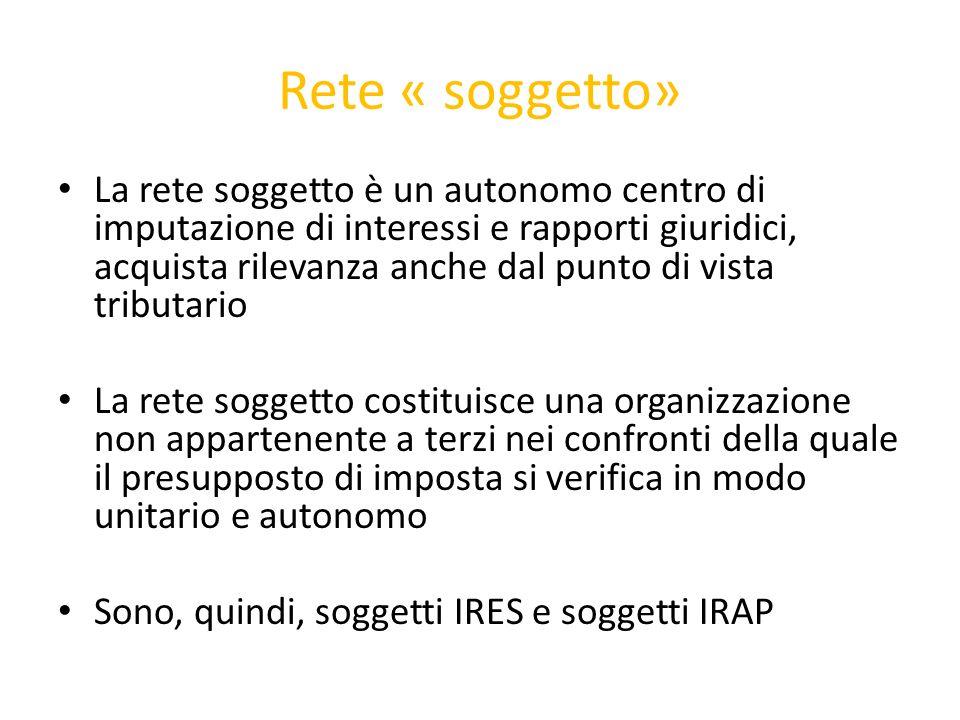Rete « soggetto» Esercita attività commerciale in via principale o eslcusiva: IRES- art.73 co.1, lett.b Tuir- enti commerciali IRAP- art.5 D.Lgs.