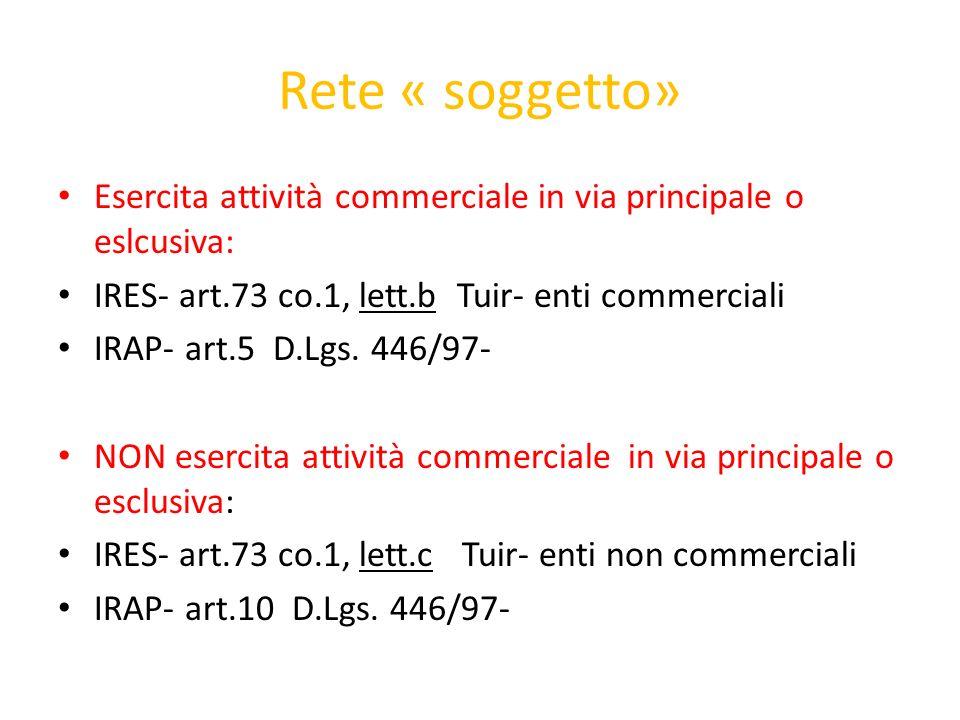 Rete « soggetto» Esercita attività commerciale in via principale o eslcusiva: IRES- art.73 co.1, lett.b Tuir- enti commerciali IRAP- art.5 D.Lgs. 446/