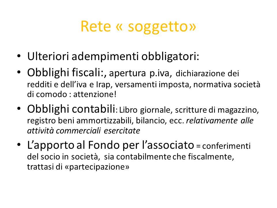 Rete « soggetto» Ulteriori adempimenti obbligatori: Obblighi fiscali:, apertura p.iva, dichiarazione dei redditi e delliva e Irap, versamenti imposta,