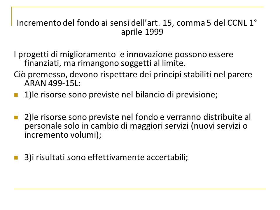 Incremento del fondo ai sensi dellart. 15, comma 5 del CCNL 1° aprile 1999 I progetti di miglioramento e innovazione possono essere finanziati, ma rim