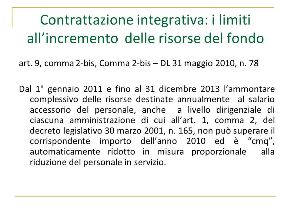 Contrattazione integrativa: i limiti allincremento delle risorse del fondo art. 9, comma 2-bis, Comma 2-bis – DL 31 maggio 2010, n. 78 Dal 1° gennaio
