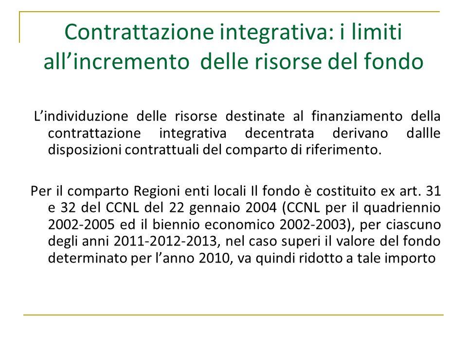 Contrattazione integrativa: i limiti allincremento delle risorse del fondo Lindividuzione delle risorse destinate al finanziamento della contrattazion