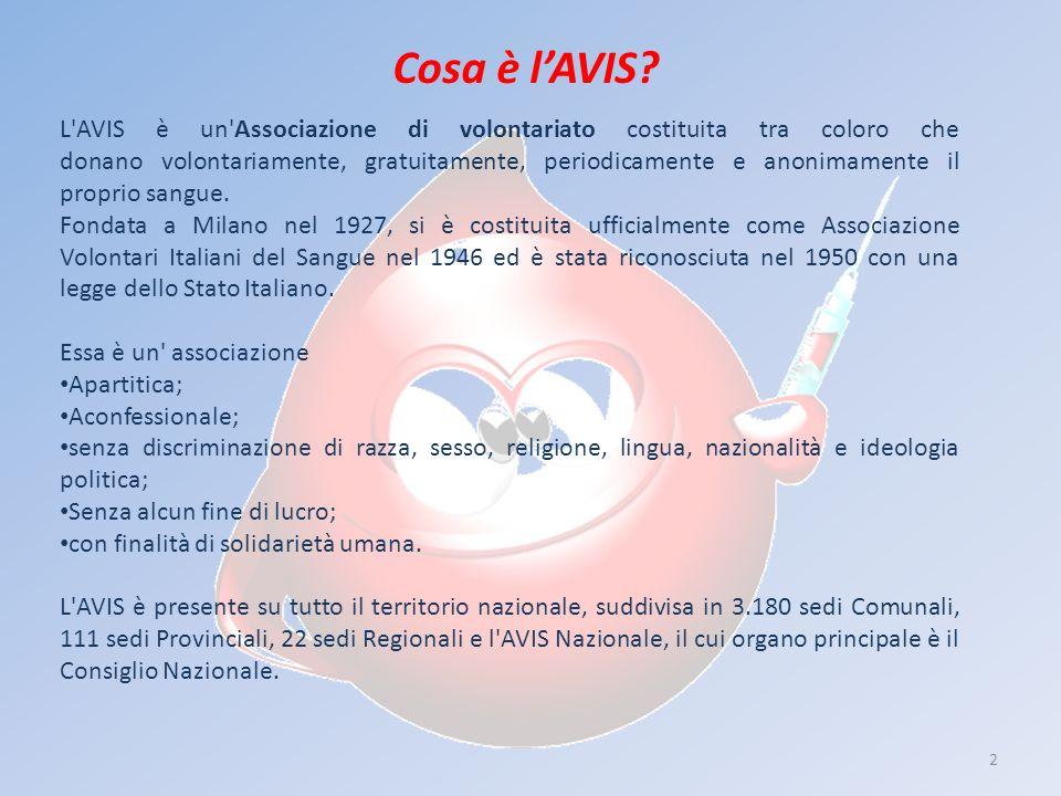 2 Cosa è lAVIS? L'AVIS è un'Associazione di volontariato costituita tra coloro che donano volontariamente, gratuitamente, periodicamente e anonimament