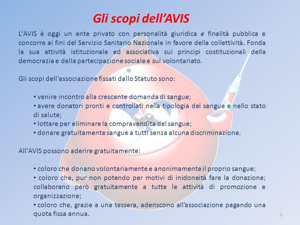 3 Gli scopi dellAVIS L'AVIS è oggi un ente privato con personalità giuridica e finalità pubblica e concorre ai fini del Servizio Sanitario Nazionale i