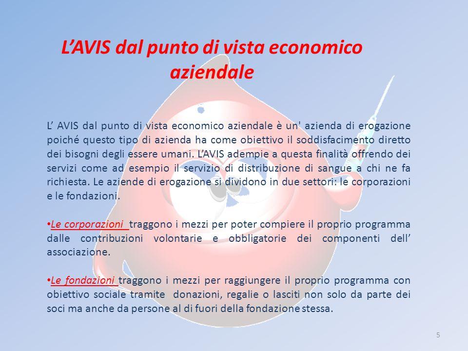 5 LAVIS dal punto di vista economico aziendale L AVIS dal punto di vista economico aziendale è un azienda di erogazione poiché questo tipo di azienda ha come obiettivo il soddisfacimento diretto dei bisogni degli essere umani.