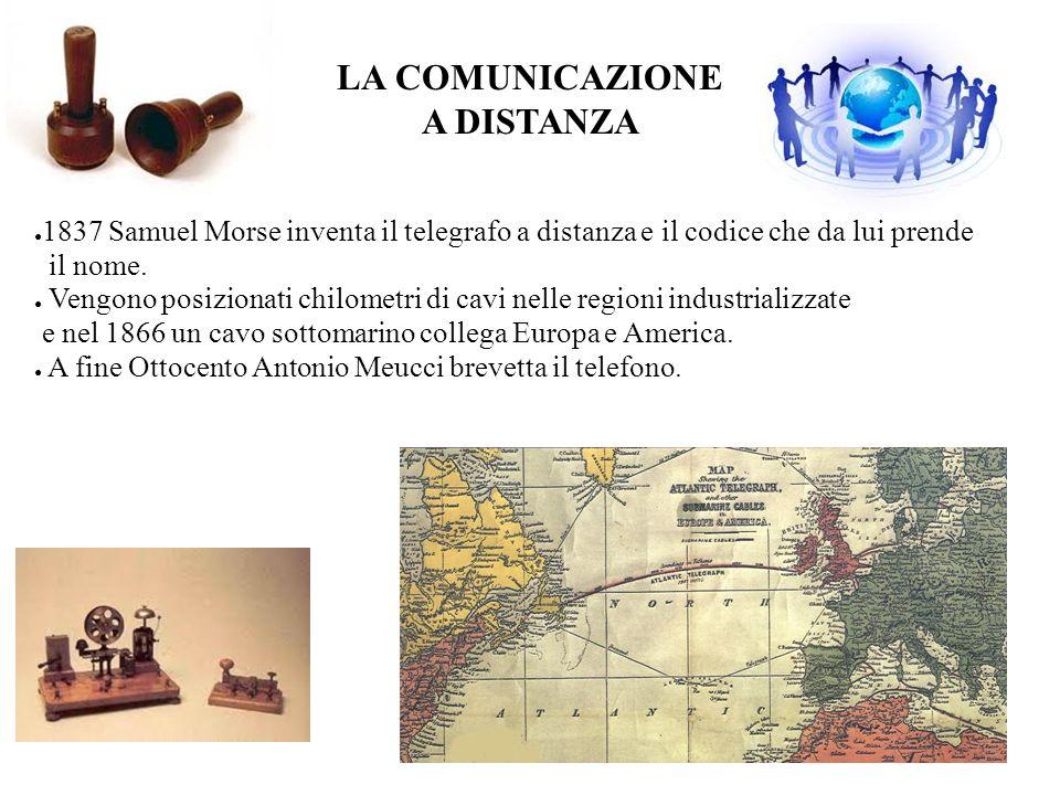 LA COMUNICAZIONE A DISTANZA 1837 Samuel Morse inventa il telegrafo a distanza e il codice che da lui prende il nome. Vengono posizionati chilometri di