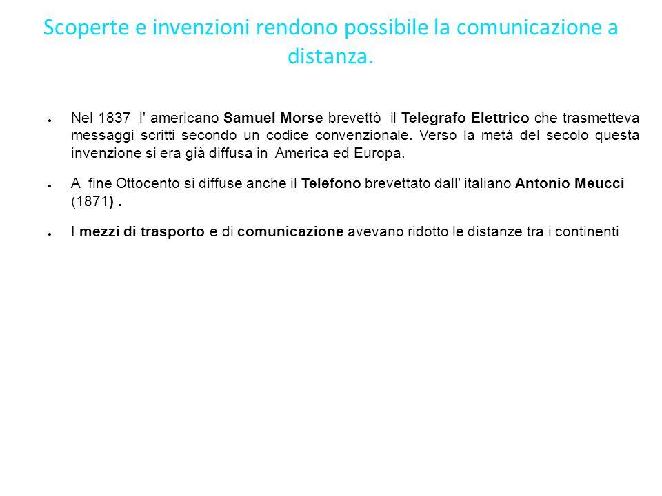 Scoperte e invenzioni rendono possibile la comunicazione a distanza. Nel 1837 l' americano Samuel Morse brevettò il Telegrafo Elettrico che trasmettev