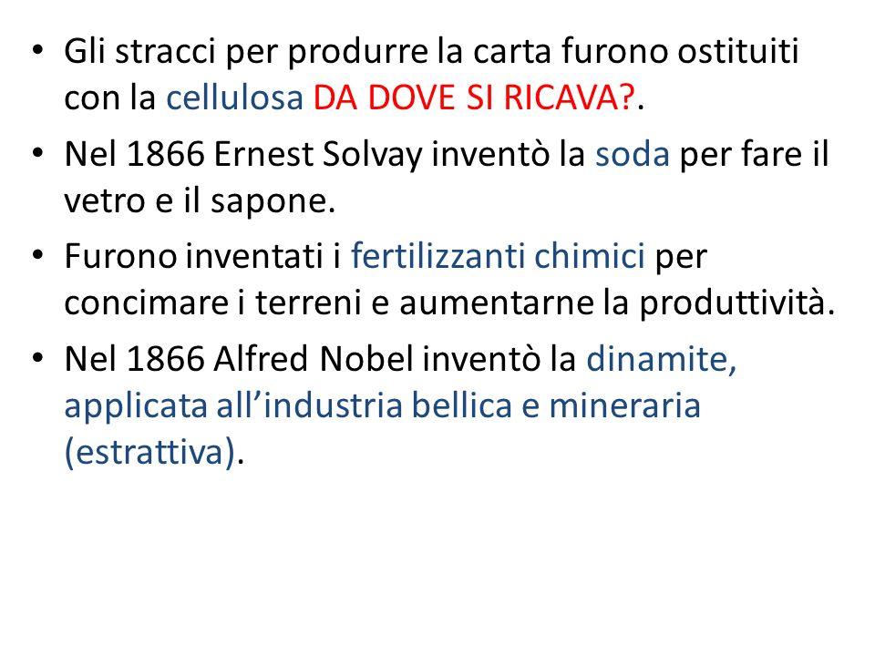 Gli stracci per produrre la carta furono ostituiti con la cellulosa DA DOVE SI RICAVA?. Nel 1866 Ernest Solvay inventò la soda per fare il vetro e il