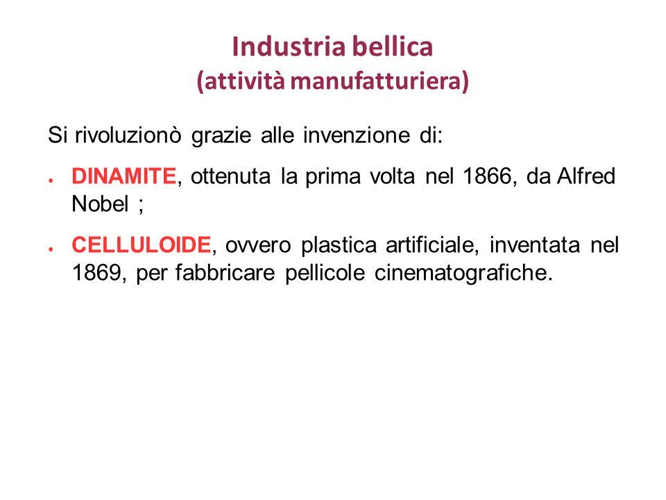 Industria bellica (attività manufatturiera) Si rivoluzionò grazie alle invenzione di: DINAMITE, ottenuta la prima volta nel 1866, da Alfred Nobel ; CELLULOIDE, ovvero plastica artificiale, inventata nel 1869, per fabbricare pellicole cinematografiche.