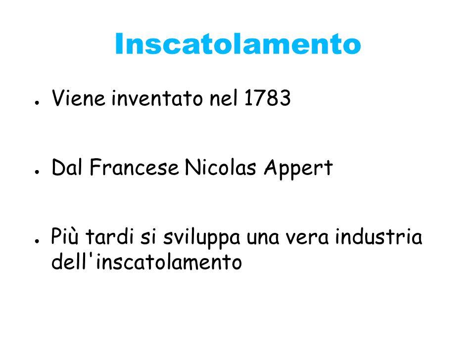 Inscatolamento Viene inventato nel 1783 Dal Francese Nicolas Appert Più tardi si sviluppa una vera industria dell'inscatolamento